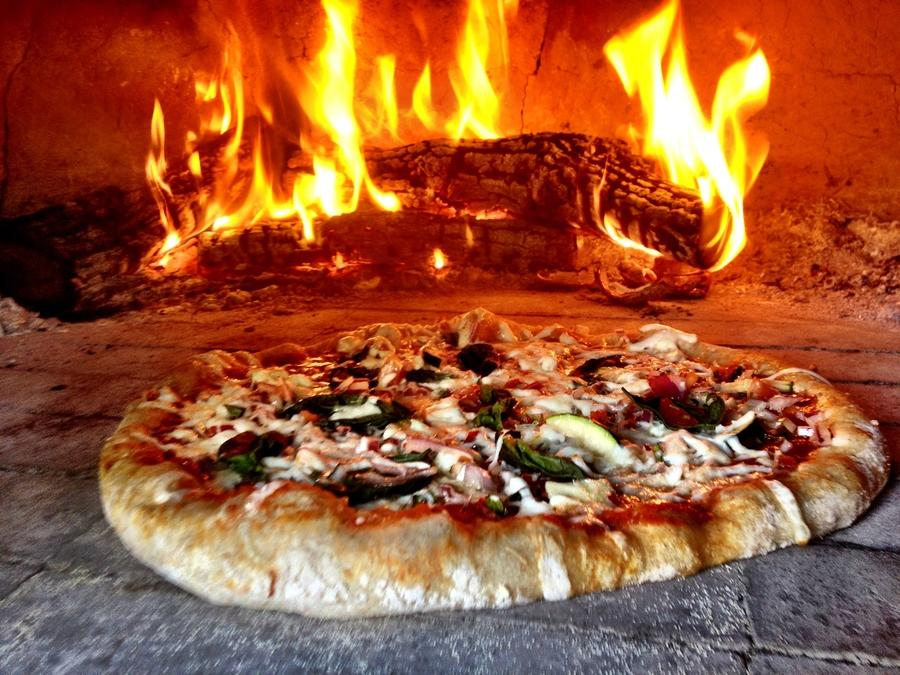 Wood-fired, brick oven pizza